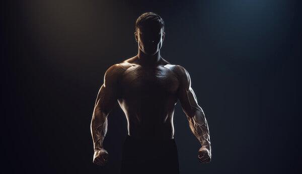 Bodybuilder in the dark