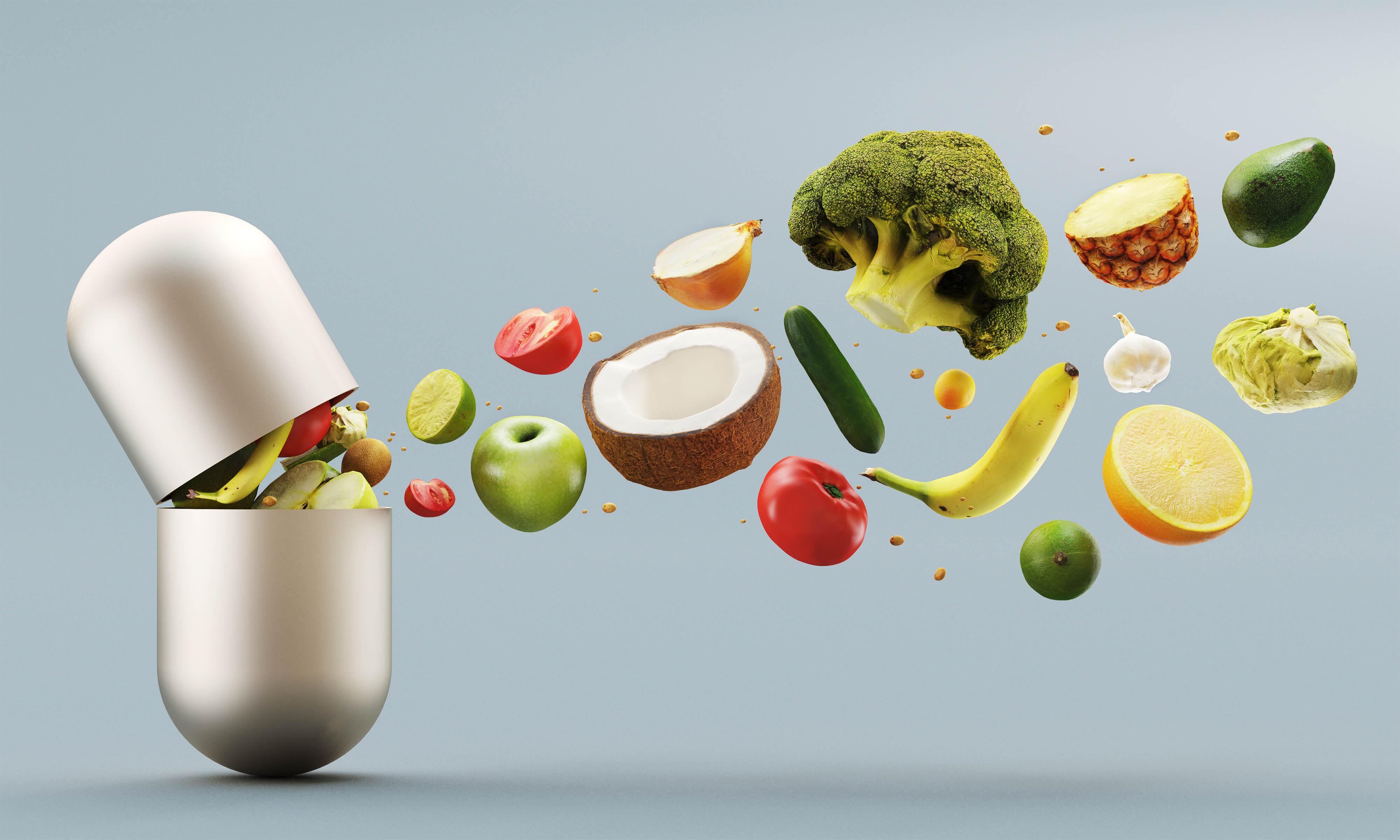 Vitaminpiller med frukt och grönt
